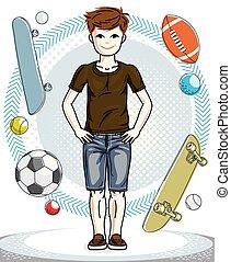 十代, かわいい, ファッション, illustration., 男の子, 身に着けていること, 幸せ, 若い, clothes., 主題, ベクトル, ポーズを取る, 子供, 偶然, clipart.