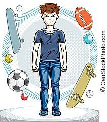 十代, かわいい, ファッション, illustration., 男の子, 身に着けていること, 流行, 若い, clothes., 主題, ベクトル, ポーズを取る, 人間, 幸せ, 偶然, clipart.