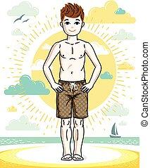 十代, かわいい, ファッション, illustration., 男の子, 身に着けていること, shorts., 流行, 若い, 主題, ベクトル, ポーズを取る, 子供, 浜, 幸せ, clipart.