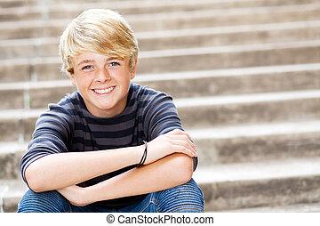 十代, かわいい, 男の子, クローズアップ, 肖像画