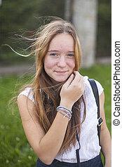 十代, かわいい, 若い, 肖像画, 女の子, outdoors.