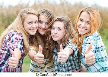 十代, オーケー, 提示, 女の子, 4, 友人, 幸せ