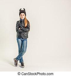 十代, ジャケット, 女の子, 黒, 流行