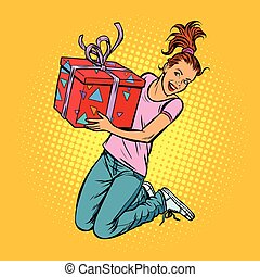 十代, ジャンプ, 女の子, 贈り物, 喜び