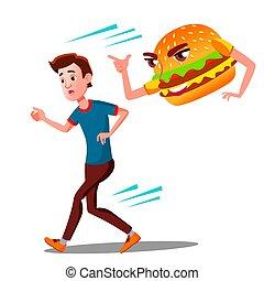 十代, ハンバーガー, おびえさせている, 隔離された, イラスト, runing, vector., 人, 離れて, 漫画
