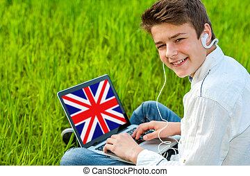 十代, ラップトップ, outdoors., 勉強, 英語