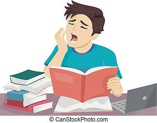 十代, 人, あくびする, 勉強しなさい