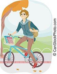十代, 人, 自転車, 大学, 取り替えなさい