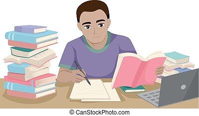 十代, 人, 黒, 勉強しなさい