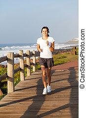 十代, 健康, ジョッギング, 浜, 女の子