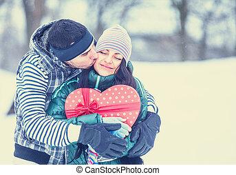 十代, 冬, 贈り物, 恋人, park., 接吻