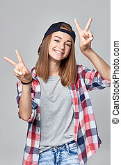 十代, 印, v, 女の子, ジェスチャーで表現する, 幸せ