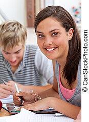 十代, 友人, 彼女, 女の子, 勉強, 図書館