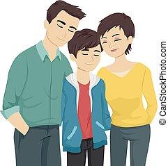 十代, 受諾, 親, ゲイである, イラスト