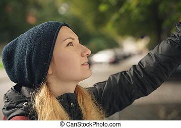 十代, 地図, 都市, 秋, 肖像画, 女の子, 見る