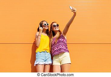 十代, 夏, smartphone, 取得, 女の子, selfie
