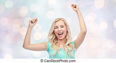 十代, 女, 若い, 祝う, 勝利, 女の子, ∥あるいは∥, 幸せ