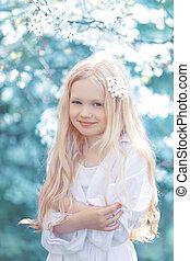 十代, 妖精, 若い, 肖像画, 白, 女の子