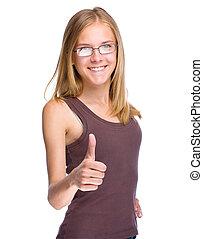 十代, 親指, 提示, の上, 若い 女の子, ジェスチャー