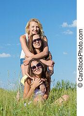 十代, 青, 女の子, 空, 3, に対して, 包含, 幸せ