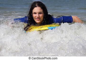 十代, body-boarding, 女の子