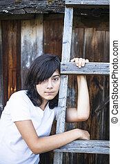 十代, countryside., emo., 肖像画, 女の子, 目, 意味深長, black-haired