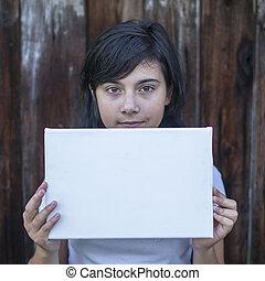 十代, (space, 白, message), 手, 女の子, 旗, あなたの