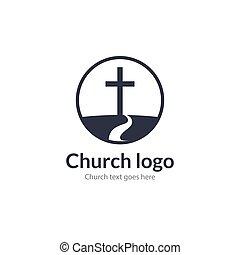 十字の 道, 鳩, religion., 崇拝, イエス・キリスト, ロゴ, 山, カトリック教, 教会, 祈る