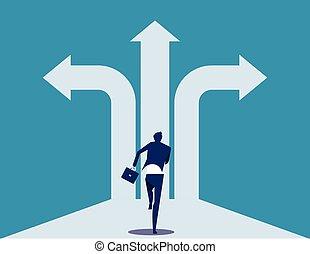十字路, way., illustration., ビジネスマン, success., ビジネス, ベクトル, 選択, 決定, 概念