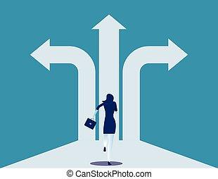十字路, way., illustration., 女性実業家, success., ビジネス, ベクトル, 選択, 決定, 概念