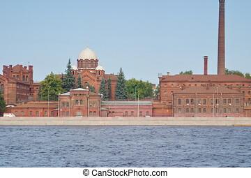 十字, 古い, イメージ, 水辺地帯, 刑務所, petersburg., st. 。