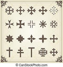 十字, 古い, 墓地, 型, 墓地, 交差点
