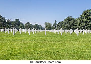 十字, normandie, 墓地, フランス, アメリカ人, 白