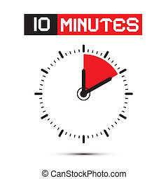 十, 分鐘, 停止表, -, 鐘, 矢量, 插圖