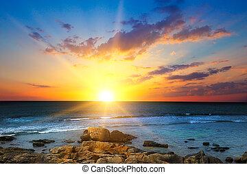 升起, 太阳, travel., sea., 结束, 概念