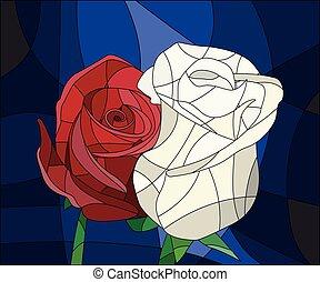 升高, 明亮, 弄脏, 离开, 玻璃, 背景, 花, 描述, frame., 红, 布朗
