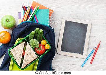 午飯盒, 以及, 學校用品