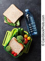 午飯盒, 由于, 蔬菜, 以及, 三明治