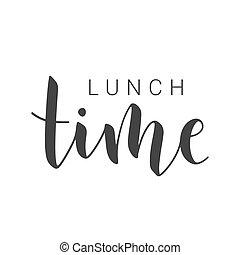 午餐, 手寫, 矢量, 股票, time., 字母, illustration.