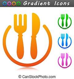 午餐, 符号, 设计, 图标, 矢量