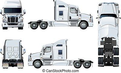 半トラック, 白, ベクトル, 隔離された, テンプレート