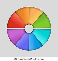 半円形, 色, 抽象的, infographic, 分けられた, ベクトル, テンプレート