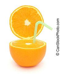 半分, オレンジ, そして, わら