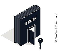 半分, ドア, 等大, イラスト, self-education, 秘密, literature., ベクトル, 3d, 比喩, 本, 開いた, 教育, 知識, 成功, ターンキー, キー