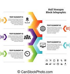 半分, 六角形, ブロック, infographic