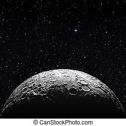 半分 月, 表面, そして, 星が多い, スペース