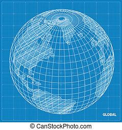 半球, 全球, blueprint.