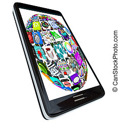 半球, 在中, app, 图标, 在上, 聪明, 电话