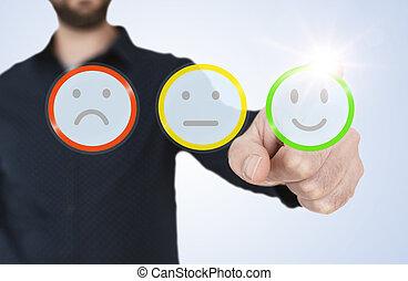 半透明, 感動的である, 青, フィードバック, smiley, インターフェイス, 人, ワイシャツ, 評価, 概念, 顧客, ボタン