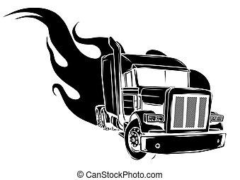 半, イラスト, ベクトル, デザイン, truck., 漫画